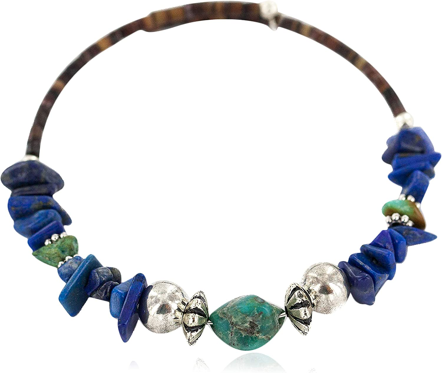$80Tag Navajo Certified Turquoise Lapis Lazuli Native Adjustable Wrap Bracelet 1301-3 Made by Loma Siiva