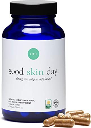 Ora Organic Skin Health Supplement - Hydration and Elasticity Support | Vegan Clear Skin Supplement Including Turmeric, Vitamin C, and Milk Thistle - 1 Month Supply, 60 Vegan Capsules