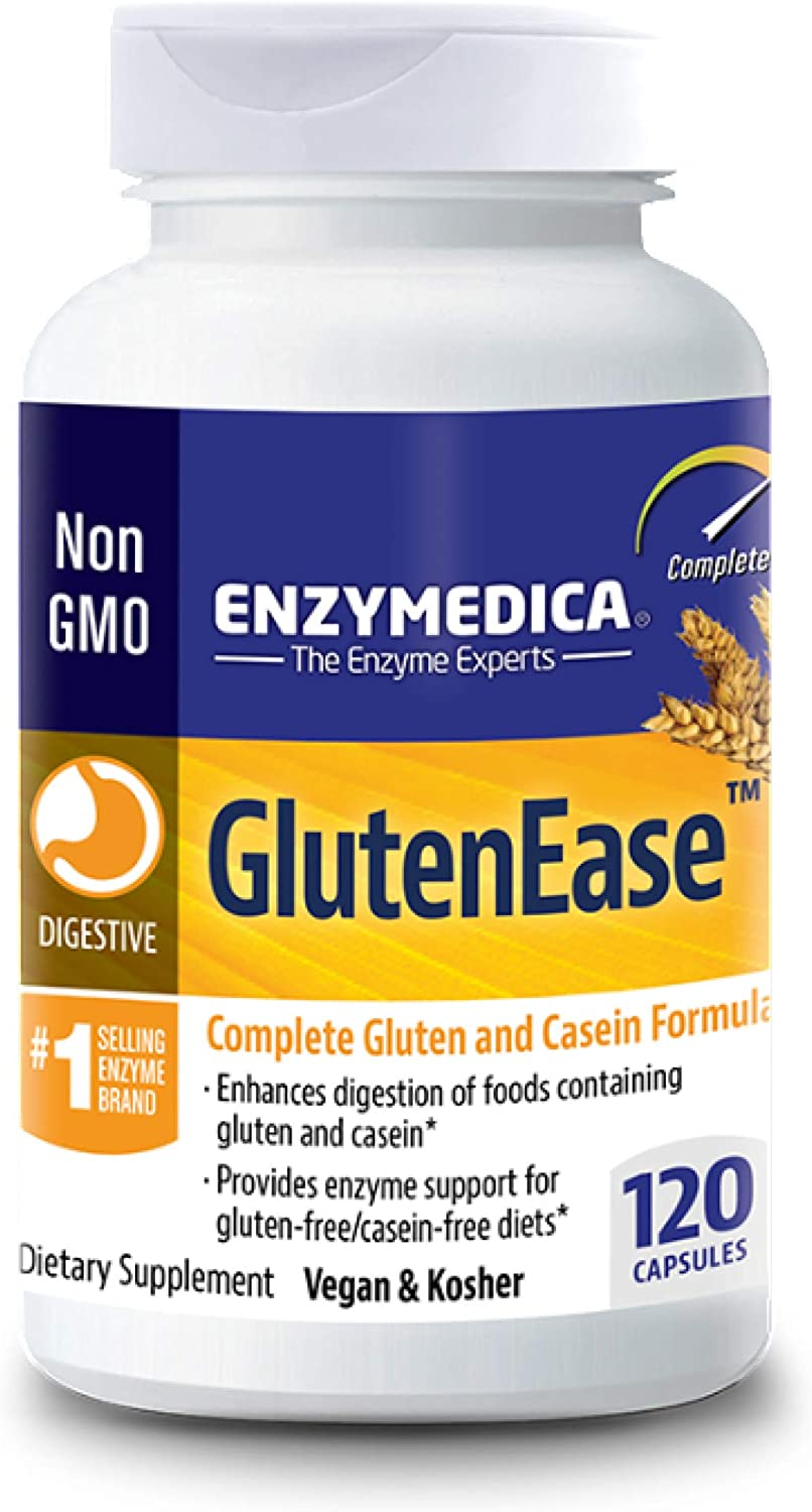 Enzymedica, GlutenEase, Digestive Aid for Gluten and Casein Digestion, Vegan, Non-GMO, 120 capsules (120 servings)