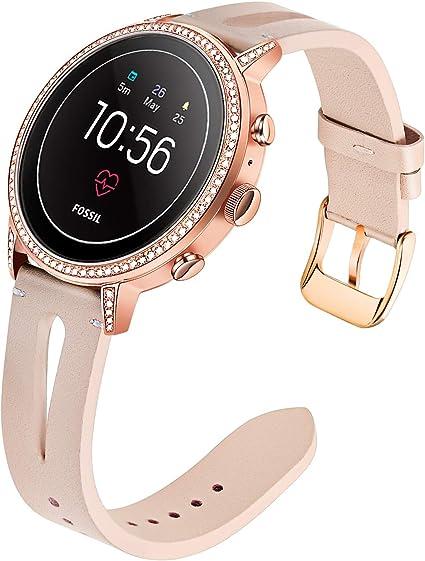 for Fossil Gen 4 Q Venture HR Women Bands, TRUMiRR 18mm Unique Genuine Leather Watchband Quick Release Strap Rose Gold Stainless Steel Clasp Bracelet ...