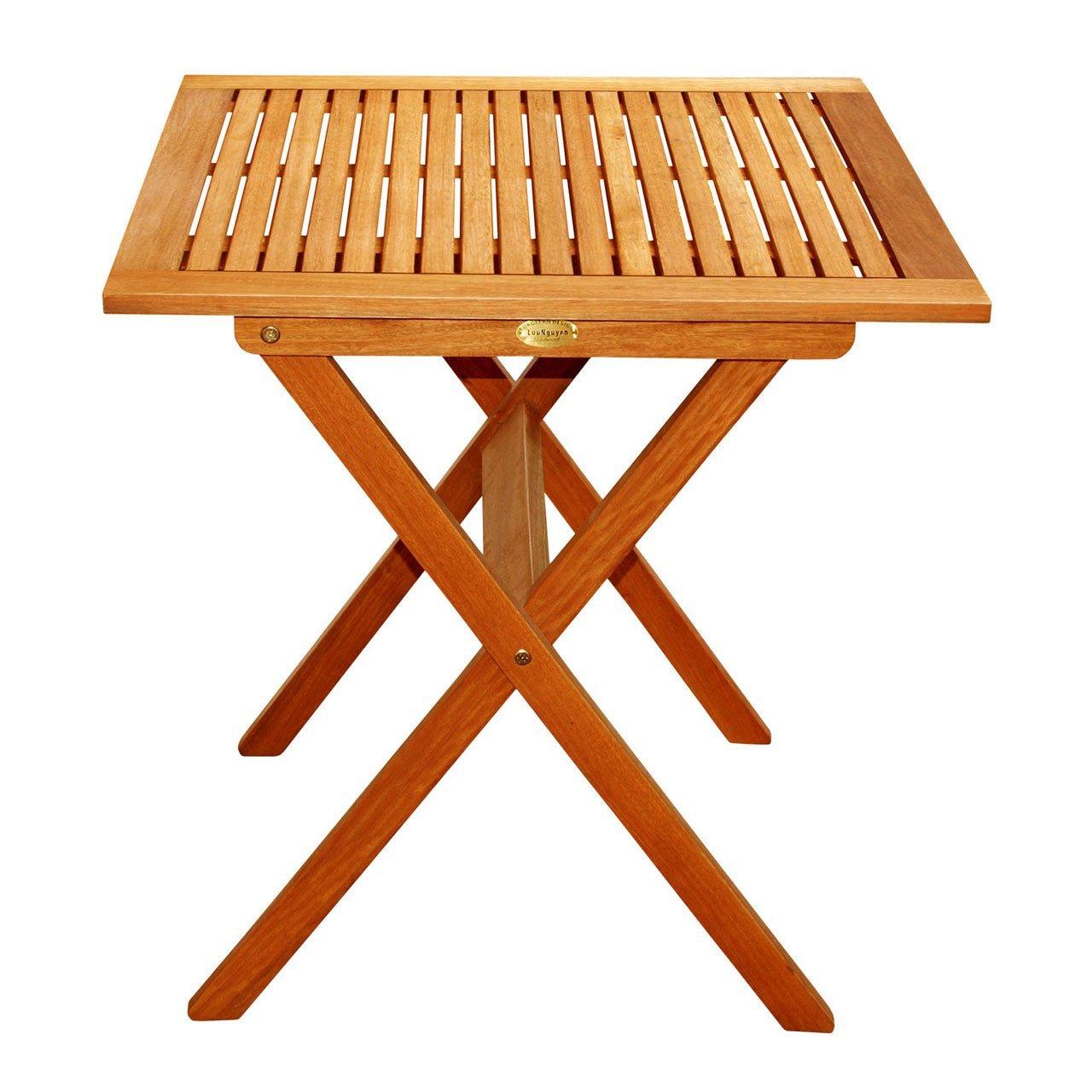 Amazon.com: LuuNguyen Outdoor Hardwood Folding Table(Natural Wood Finish):  Kitchen & Dining