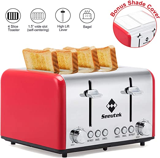 Red Stainless Steel 4 Slice Bread Toaster Wide Slot Great for Quick Breakfast