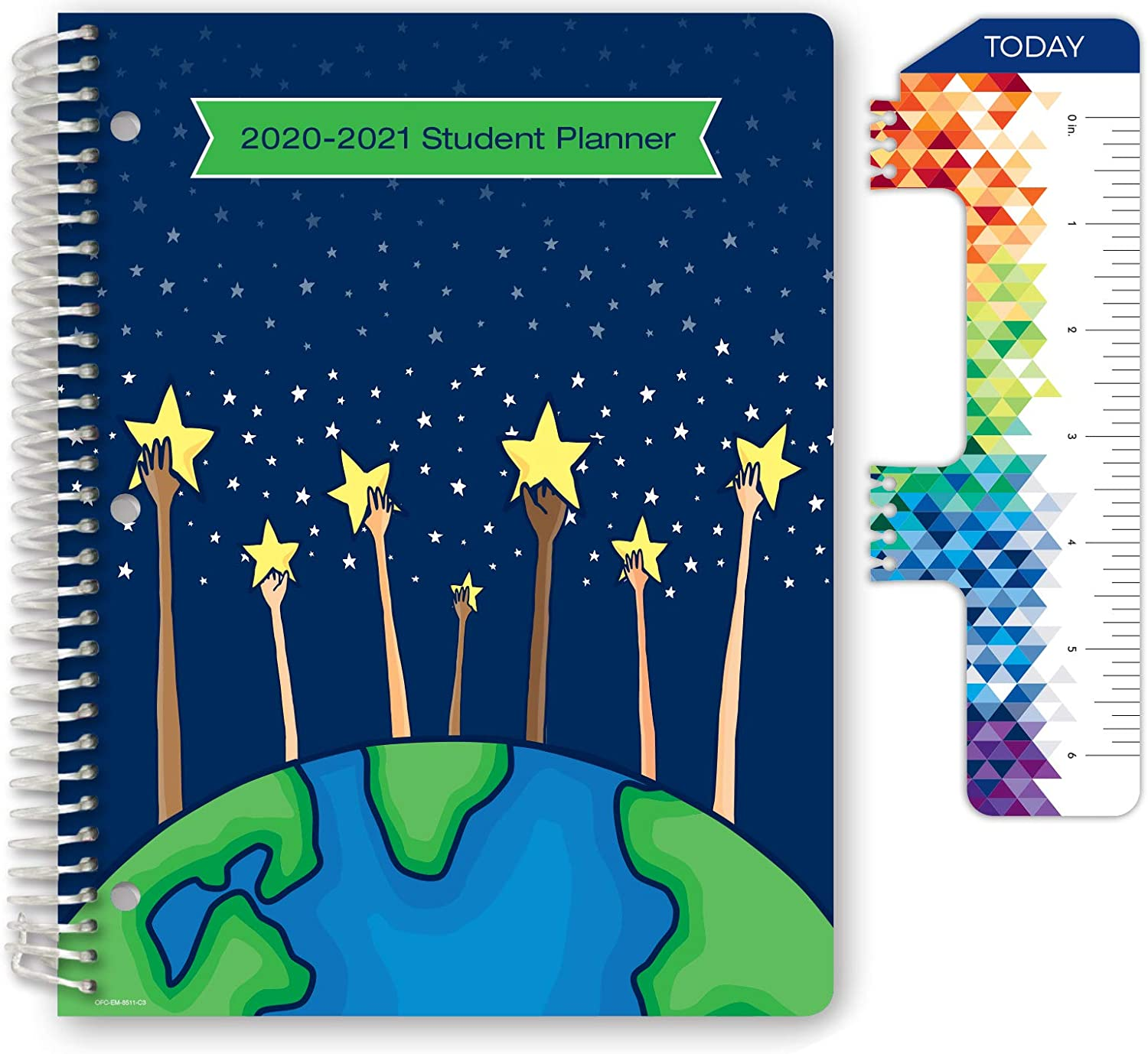 """Dated Elementary Student Planner for Academic Year 2020-2021 (Matrix Style - 8.5""""x11"""" - Reach for The Starts Cover) - Ruler/Bookmark and Planning Stickers : Office Products"""