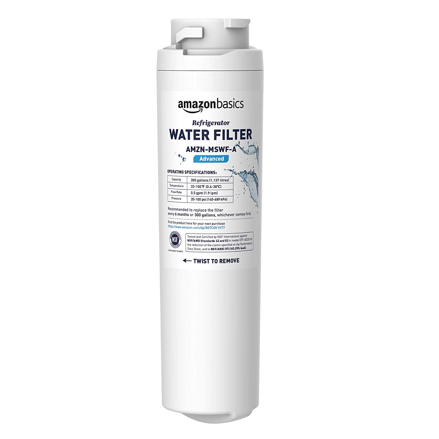 AmazonBasics Replacement GE MSWF Refrigerator Water Filter- Advanced Filtration