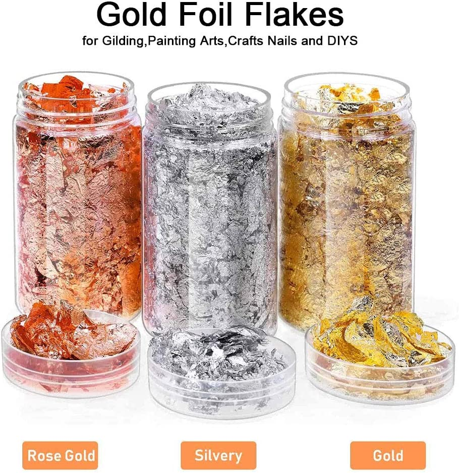 Gold, Silver, Copper Colors 3Pcs Gold Foil Flakes for Resin Slime and Resin Jewelry Making Paxcoo Imitation Gold Foil Flakes Metallic Leaf for Nails Painting Crafts