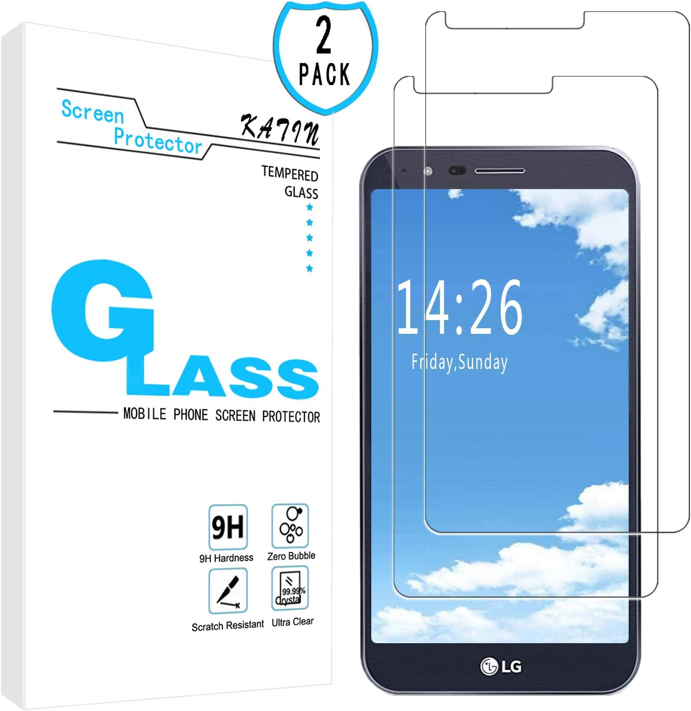 KATIN LG Stylo 3 Plus Screen Protector - [2-Pack] Tempered Glass for LG Stylo 3 Plus Screen Protector Anti-Scratch, Bubble Free with Lifetime Replacement Warranty
