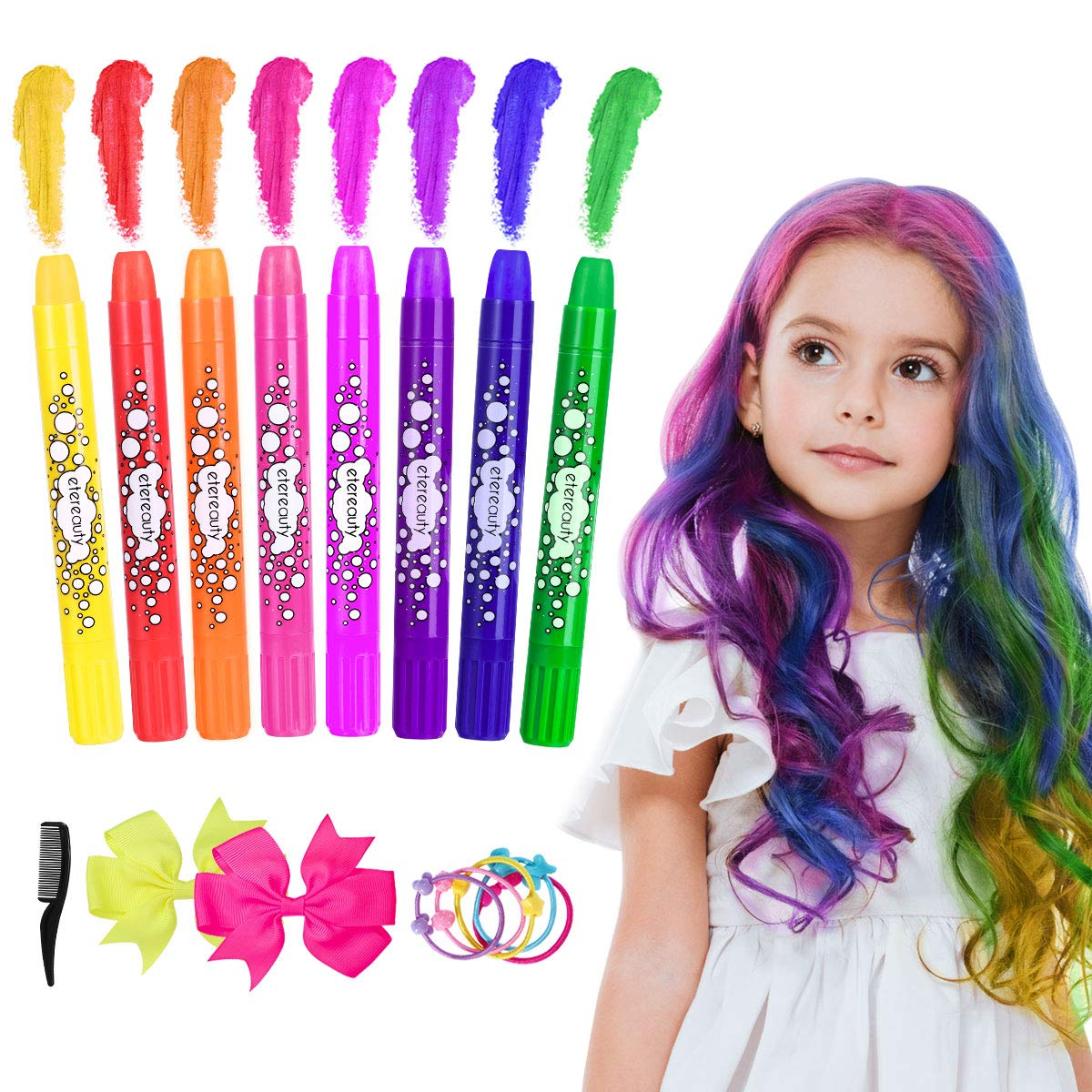 Hair Chalk, Hair Chalk Color Comb Temporary Halloween Hair Color Cream with Shawl for Kids Party and Cosplay