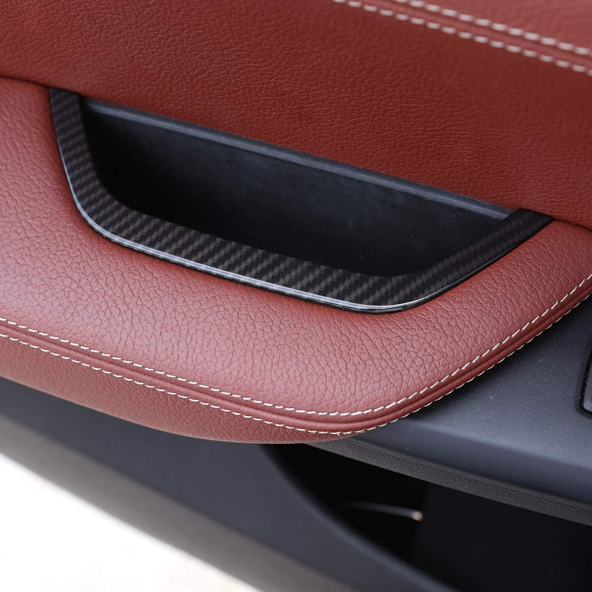 YIWANG Carbon Fiber Style ABS Interior Drivers Door Armrest Storage Box Frame Trim Cover For X3 X4 F25 F26 2011-2017 Auto Accessories