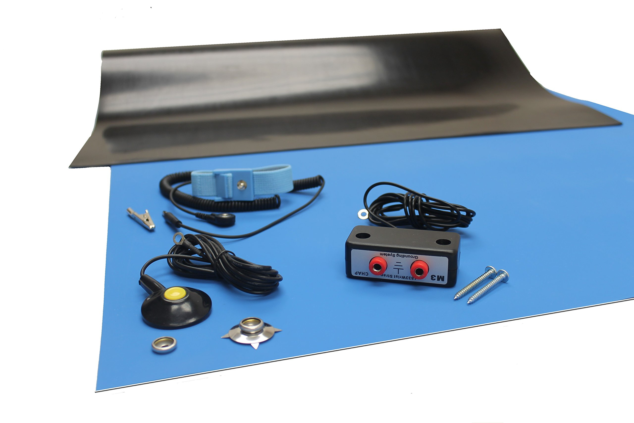 Rubber ESD Anti-Static HIGH Temperature Soldering MAT KIT-30'' X 60'' (2.5'x 5') - 0.08'' Thick- with Dual Bench and Wrist Strap-Blue