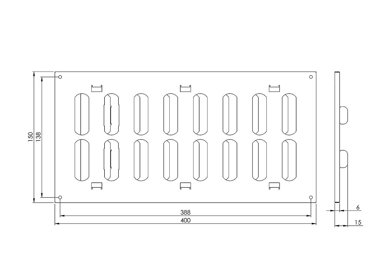 400x150mm Blanc Grille r/églable Grille de ventilation coulissante en M/étal