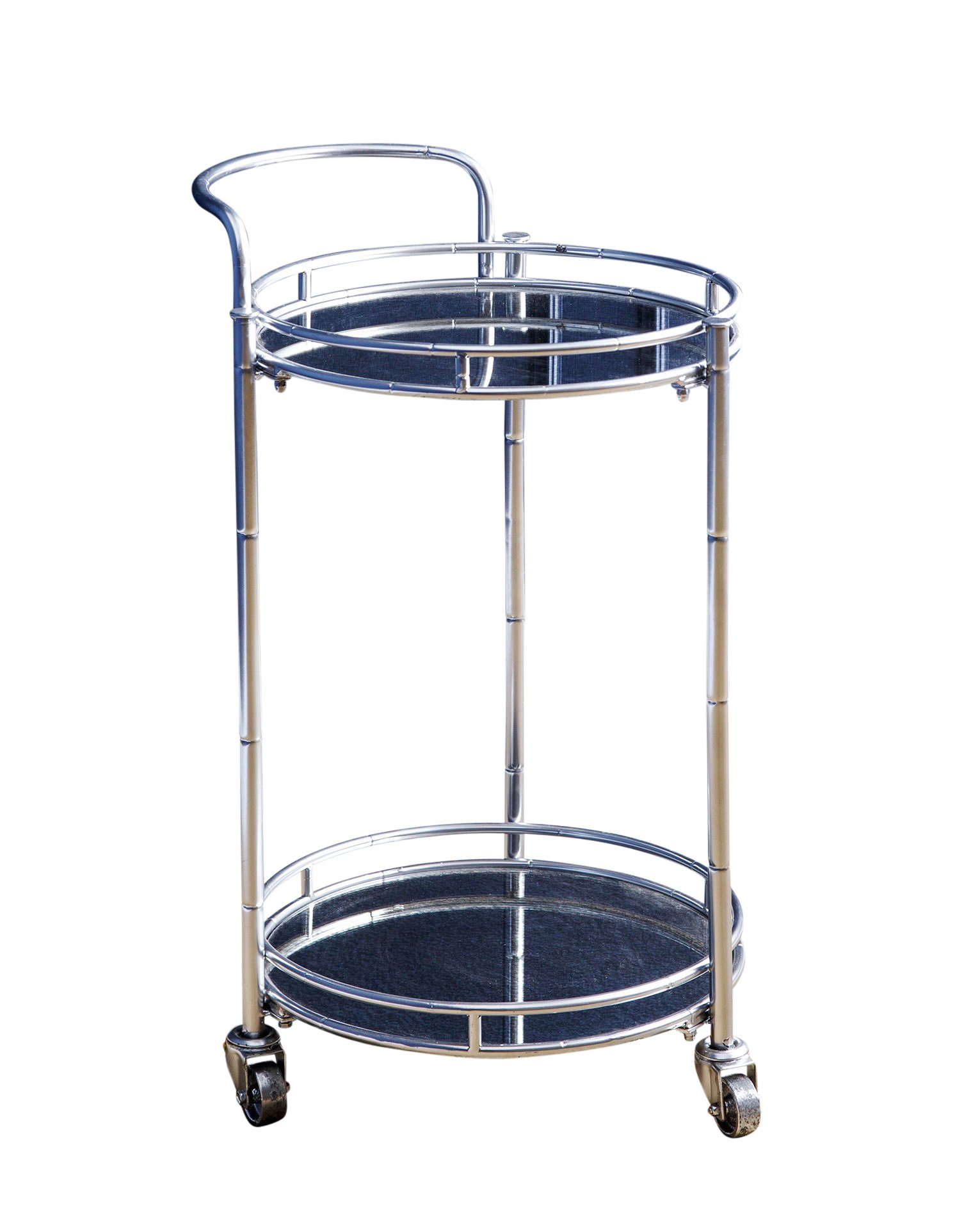 Abbyson Baileylinder Cylinder Bar Cart, Silver