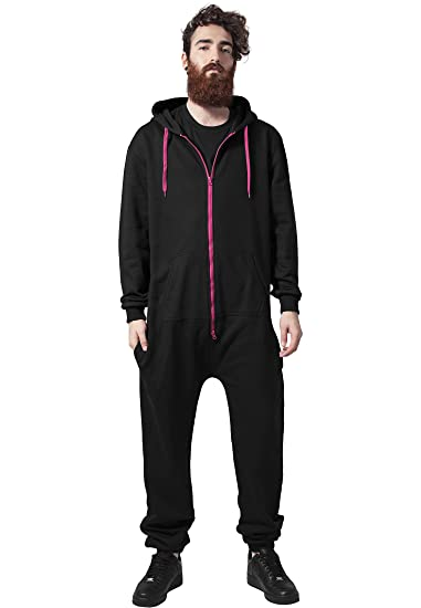 e6bca59601b2 Sweat Jumpsuit Adult Onesie Hooded Black Pink Trim Casual Streetwear  Fashion Celebrity Trend
