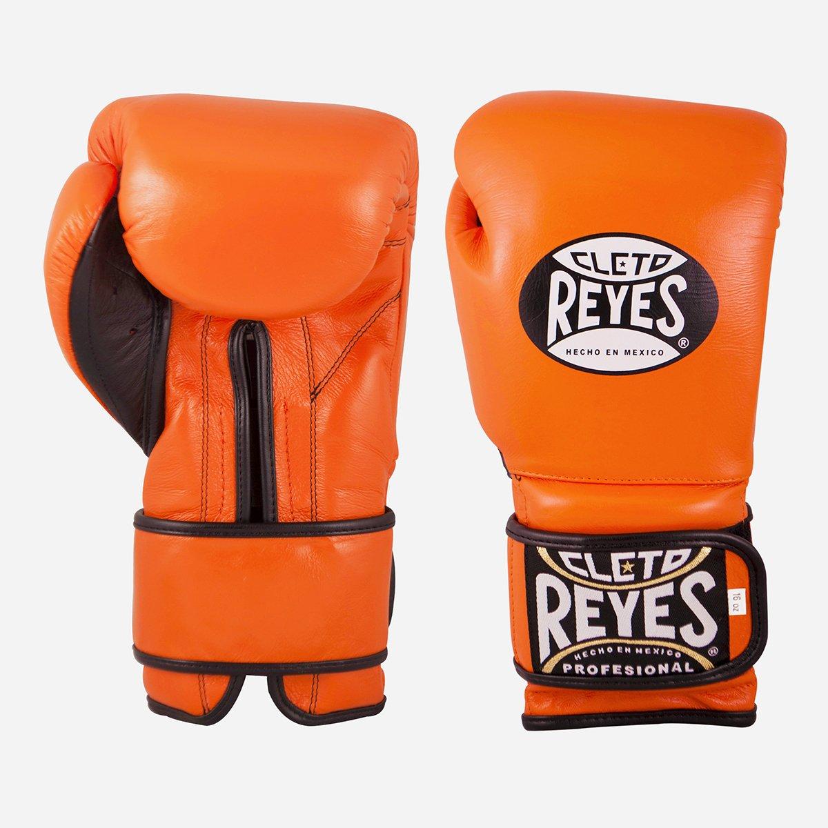 Cleto Reyes Hook and Loop Leather Training Boxing Gloves - 12 oz. - Tiger Orange