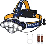 Rechargeable LED Headlamp, High Lumen IPX5 Waterproof 8 LED 8 Modes Headlamps with Red Light, Lightweight Adjustable Head Lam