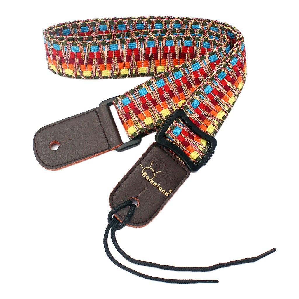 MonkeyJack Adjustable Stripy Strap Belt w Leather End for Ukulele Guitar Banjo Mandolin