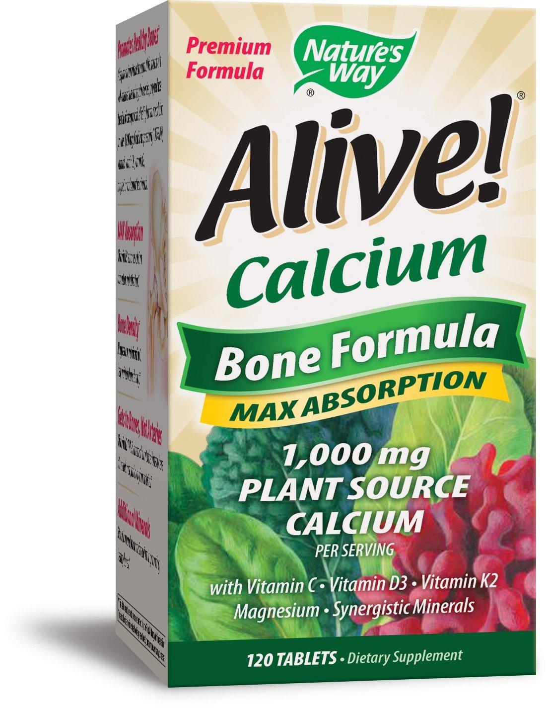 Nature's Way Alive!®  Calcium Bone Formula Supplement (1,000mg per serving), 120 Tablets