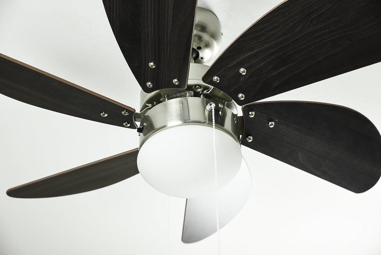 Westinghouse Swirl Ventilador de Techo Turbo, 80 W, Wengué y Níquel: Amazon.es: Iluminación