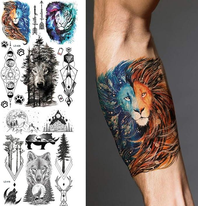 MRKAL Galaxy Lion Tiger Forest Impermeable Negro Tatuajes Etiqueta ...