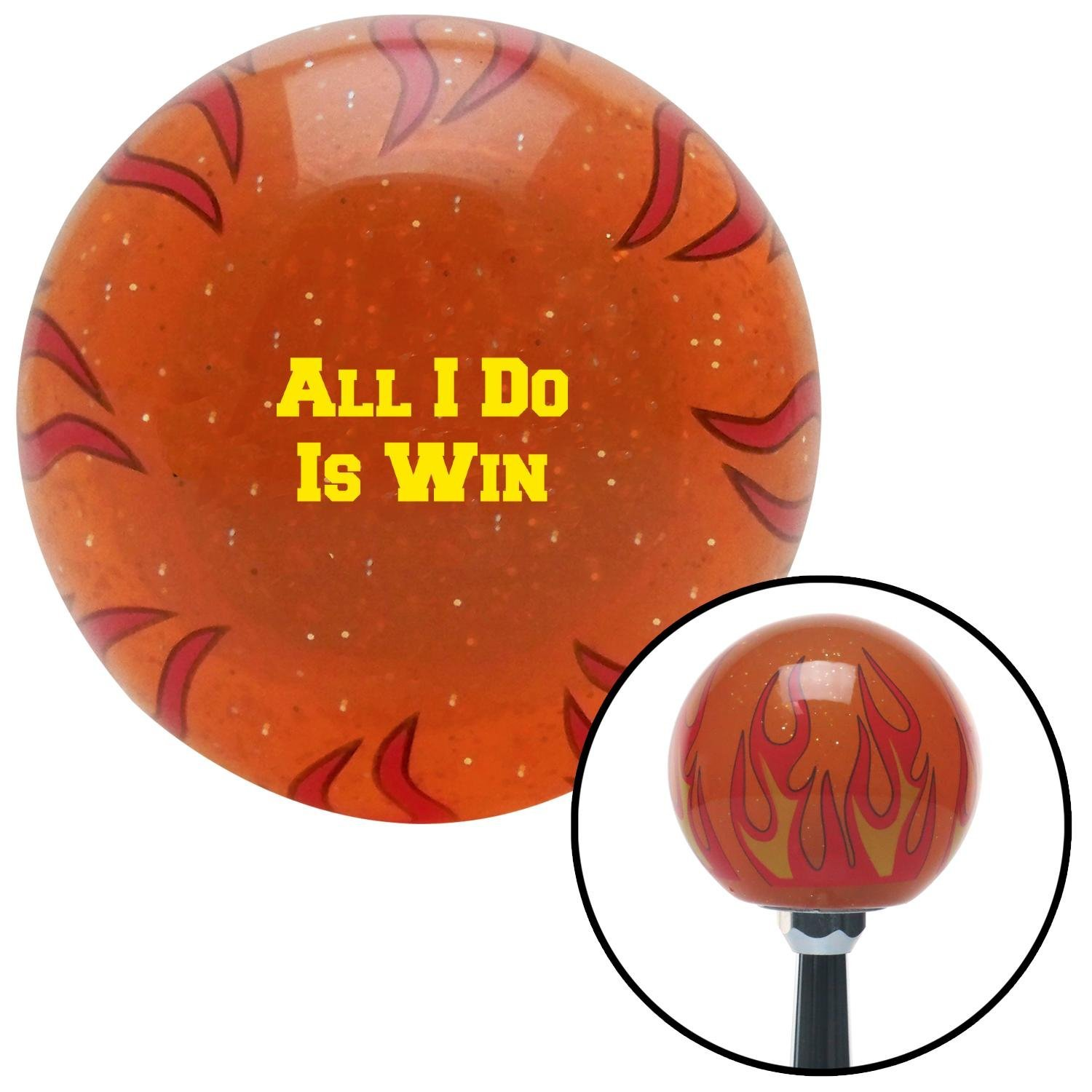 Yellow All I Do is Win Orange Flame Metal Flake with M16 x 1.5 Insert American Shifter 299002 Shift Knob