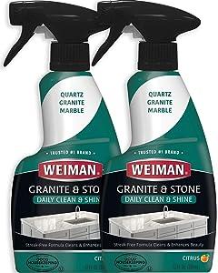 Weiman Granite Cleaner and Polish - 12 Ounce (2 Pack) - Non-Toxic Safe for Granite Marble Soapstone Quartz Quartzite Slate Limestone Corian Laminate Tile Countertop