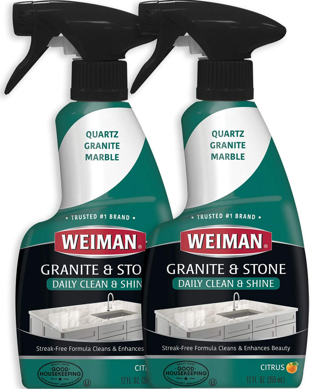 Weiman Granite Cleaner and Polish - 12 Ounce (2 Pack) - Non-Toxic Safe for Granite Marble Soapstone Quartz Quartzite Slate Limestone Corian Laminate Tile Countertop by Weiman