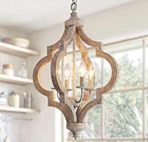 """Antique Wood and Metal Chandelier Ceiling Pendant Light 4 Candle Holder Lights Retro Vintage Industrial Rustic Hanging Ceiling Lamp Light Fixture for Home decor-D16""""x H23.9"""""""