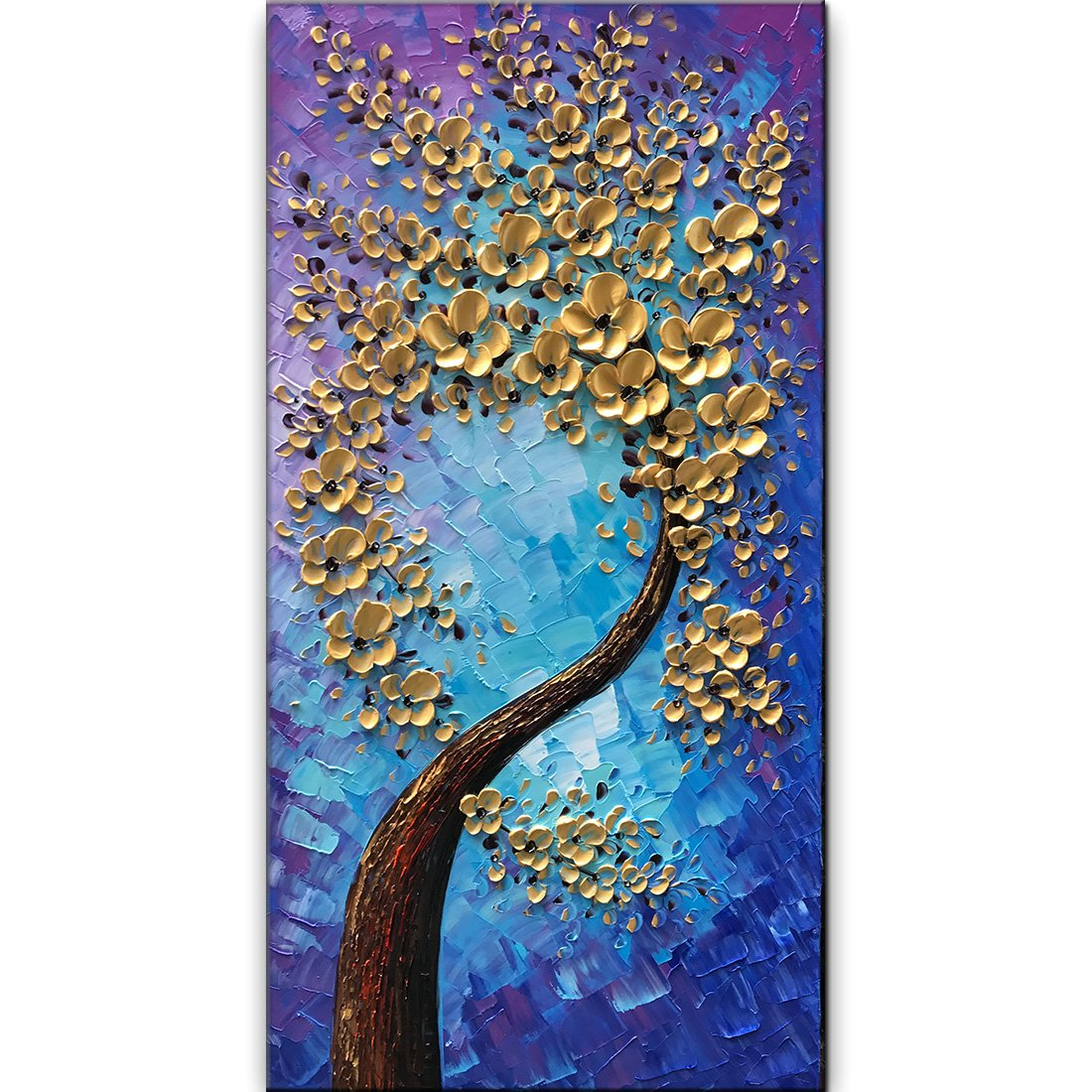baccow -- 3D Blossom Trees Handmade Abstract Wall Art Landscape Oil Paintings Canvas with Frames for Bedroom Kitchen Living Room Office 24x48inc