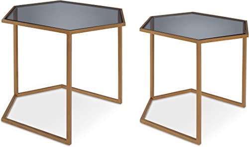 Kate and Laurel Travena 2-Piece Hexagon Side Table Set