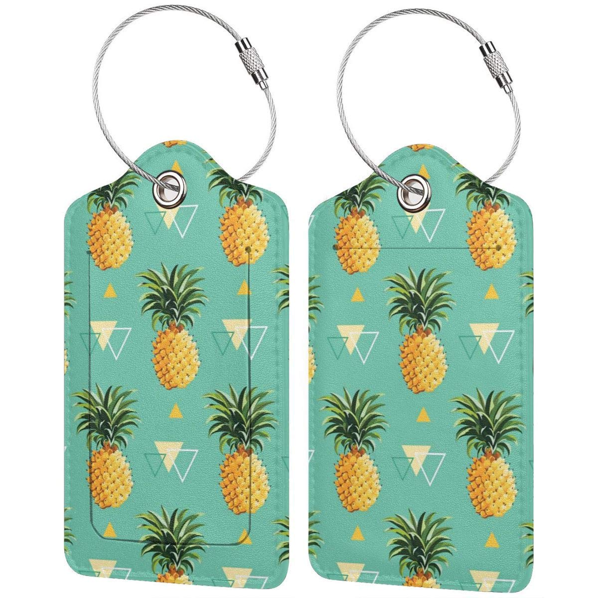 Yellow Pineapple Travel Luggage Tags Information Labels With Full Back Privacy Cover For Suitcase//Baggage//Boarding Case//Backpack