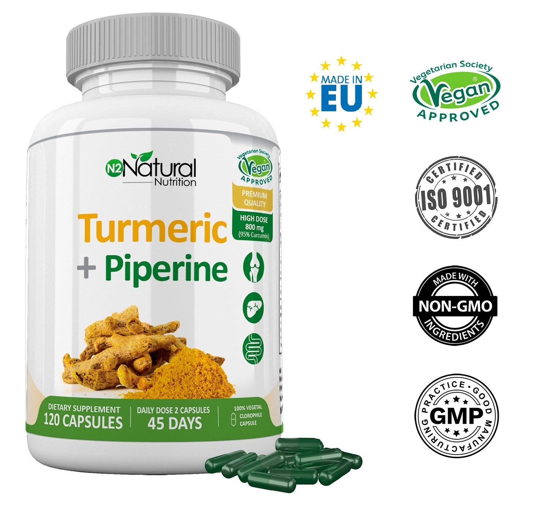 Cúrcuma Piperina Turmeric en Cápsulas. 95% de Curcumina y Piperina (Pimienta Negra). Curcuma de Máxima Concentración. Suplemento Alimenticio de Alta ...