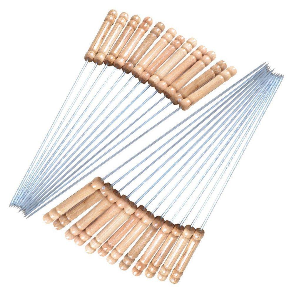 24x Metal de acero inoxidable reutilizable para barbacoa. Pinchos con mango de madera, 30cm, Palos de Kabab de metal trenzado–-juego de 24 30cm Anzer
