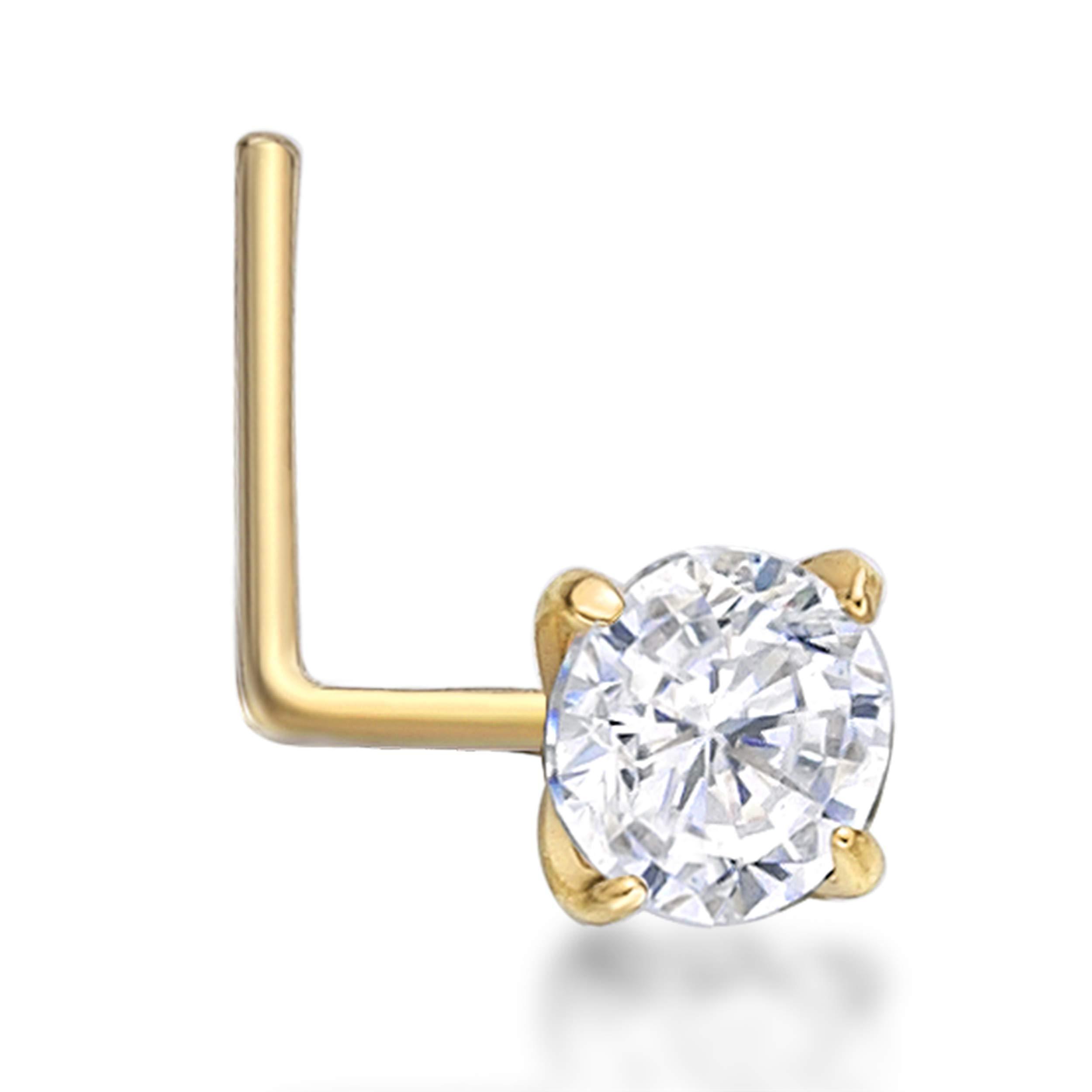 Lavari - 14K Yellow Gold 3mm White Cubic Zirconium Nose Ring L-Shape 22G by Lavari Jewelers