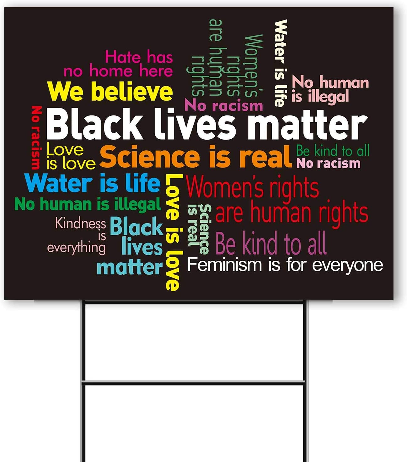 "Vencer 1 Pack Double-Sided Hate Has No Home Here Yard Sign,12 "" X 16 ""with Metal Stake,We Believe Woman's Rights Human Rights Black Lives"