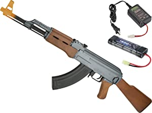 Evike Airsoft - CYMA Sport Airsoft AK47 AEG Rifle w/Simulated Wood Furniture (Package: 9.6v NiMH Battery + Charger)