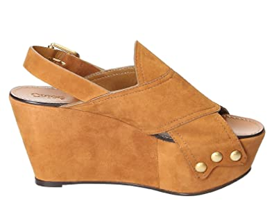 Women's CH28180E01 Brown Suede Wedges