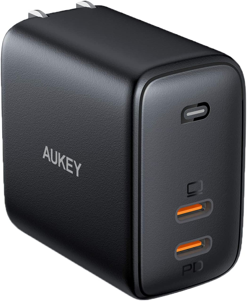 USB C Charger AUKEY Omnia 65W 2-Port Fast Charger Foldable USB C Wall Charger with GaNFast Tech & Dynamic Detect for iPhone 11 Pro Max SE, Macbook Pro, iPad, AirPods Pro, Pixel 4XL, Galaxy S10, Switch
