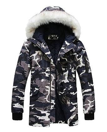 LILBETTER Men s Hooded Faux Fur Camouflage Warm Coats Outwear Winter Jackets  (XS 9c5eeb84a20