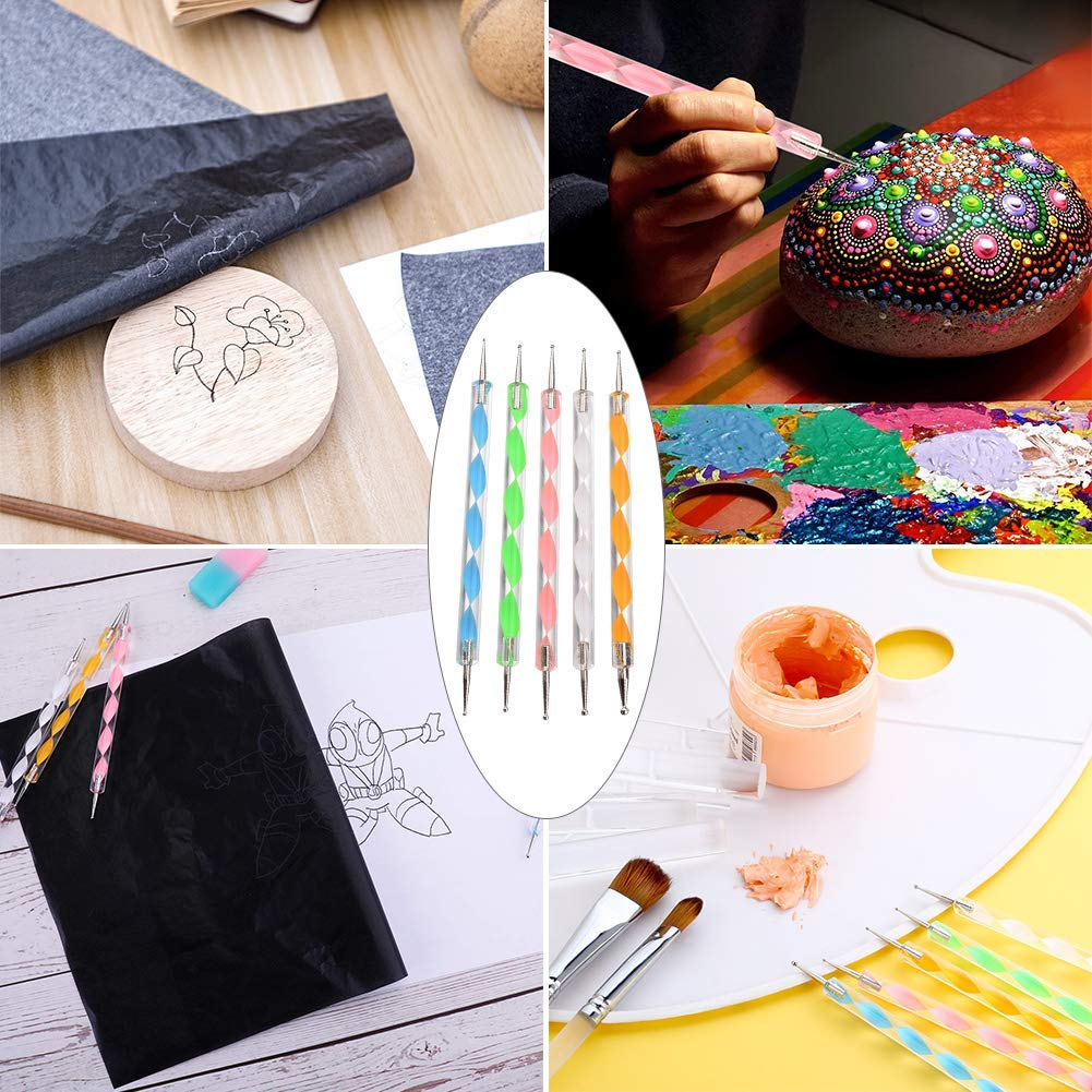 Paper Canvas and Other Art Craft Surfaces Maycoo 200 Sheets Carbon Paper Black Transfer Tracing Paper and 5 Pieces Ball Embossing Styluses for Wood