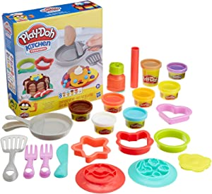 Play-Doh Kitchen Creations Flip 'n Pancakes Playset 14-Piece Breakfast Toy for Kids 3 Years and Up with 8 Non-Toxic Modeling Compound Colors