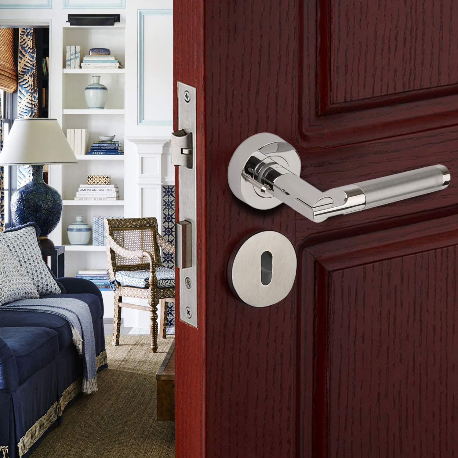 Elegant Internal Round Lever Handle Used as Internal Door Handles with a Standard Latch XFORT/® Door Handle on Rose Regento Lever Door Handles in Dual Chrome Finish Mortice or Bathroom Lock