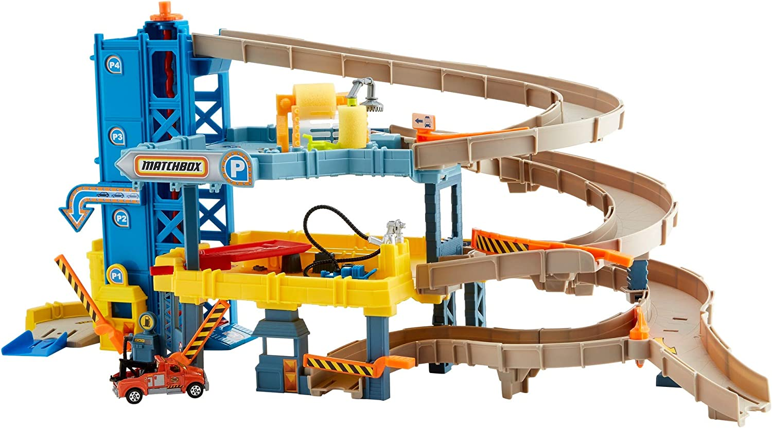 Amazon Com Matchbox 4 Level Garage With Spiral Ramp Gas Pump Crane Track Working Elevator Car Wash Includes 1 Matchbox Tow Truck Connects To Other Sets For Kids 3 Years Up Amazon Exclusive