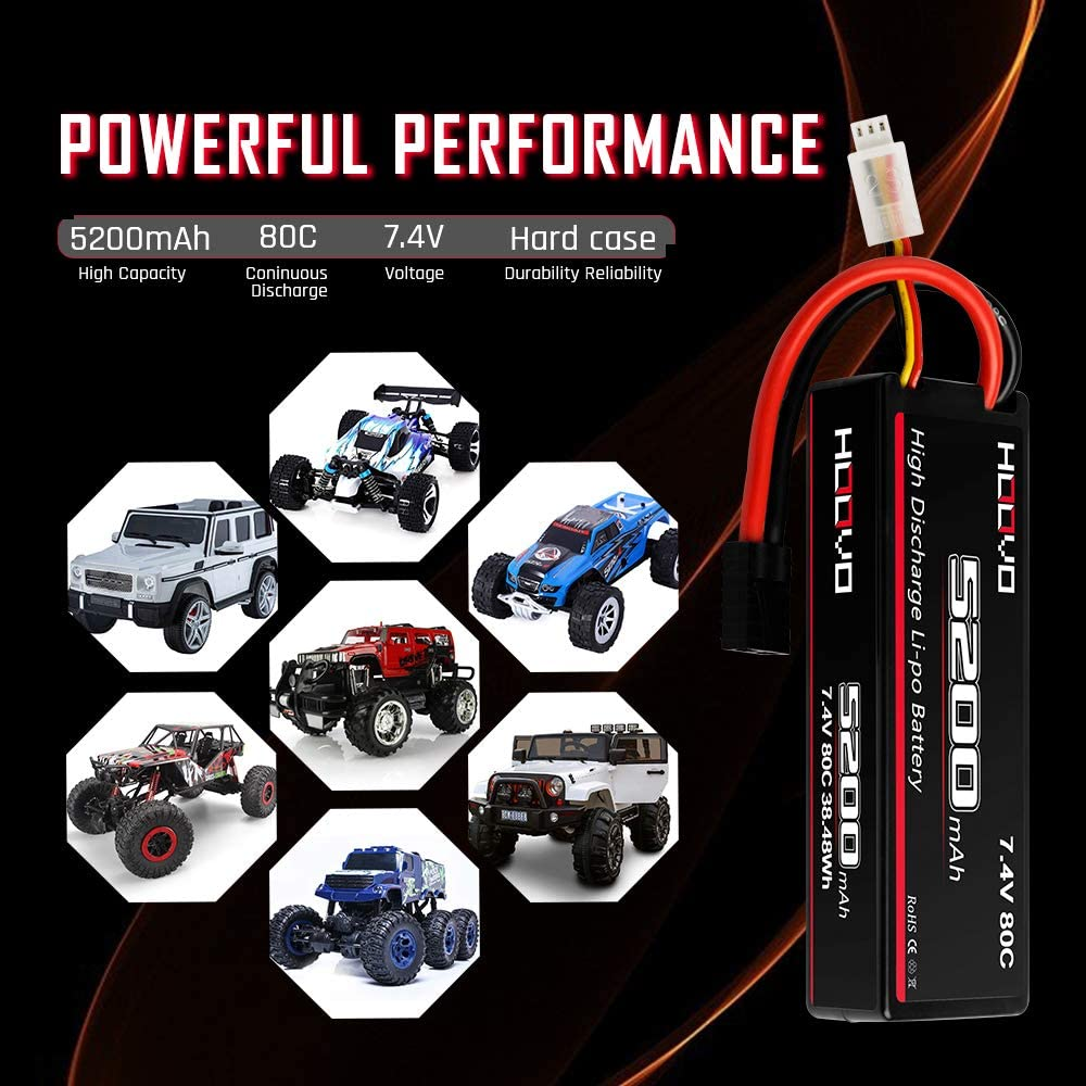 HOOVO 2S 7.4V 5200mAh 80C Lipo Battery Hard Case with Traxxas Plug Connector for RC Car Vehicle Truck Buggy Losi Traxxas Slash Buggy Team Associated