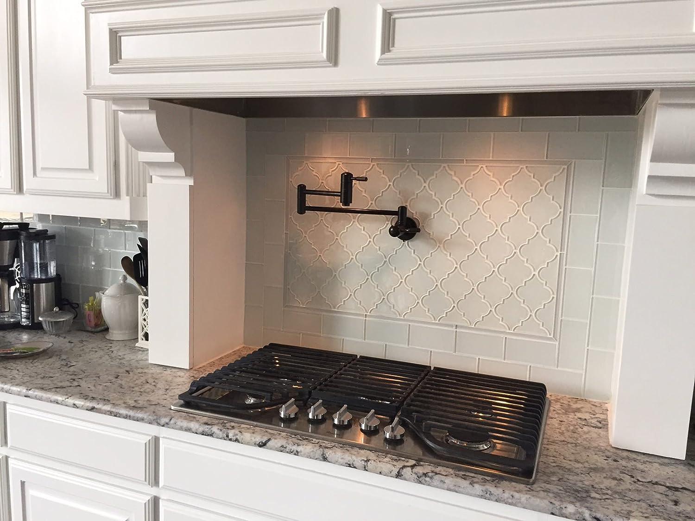 - Amazon.com: White Arabesque Glass Tile (Sample Swatch): Home & Kitchen