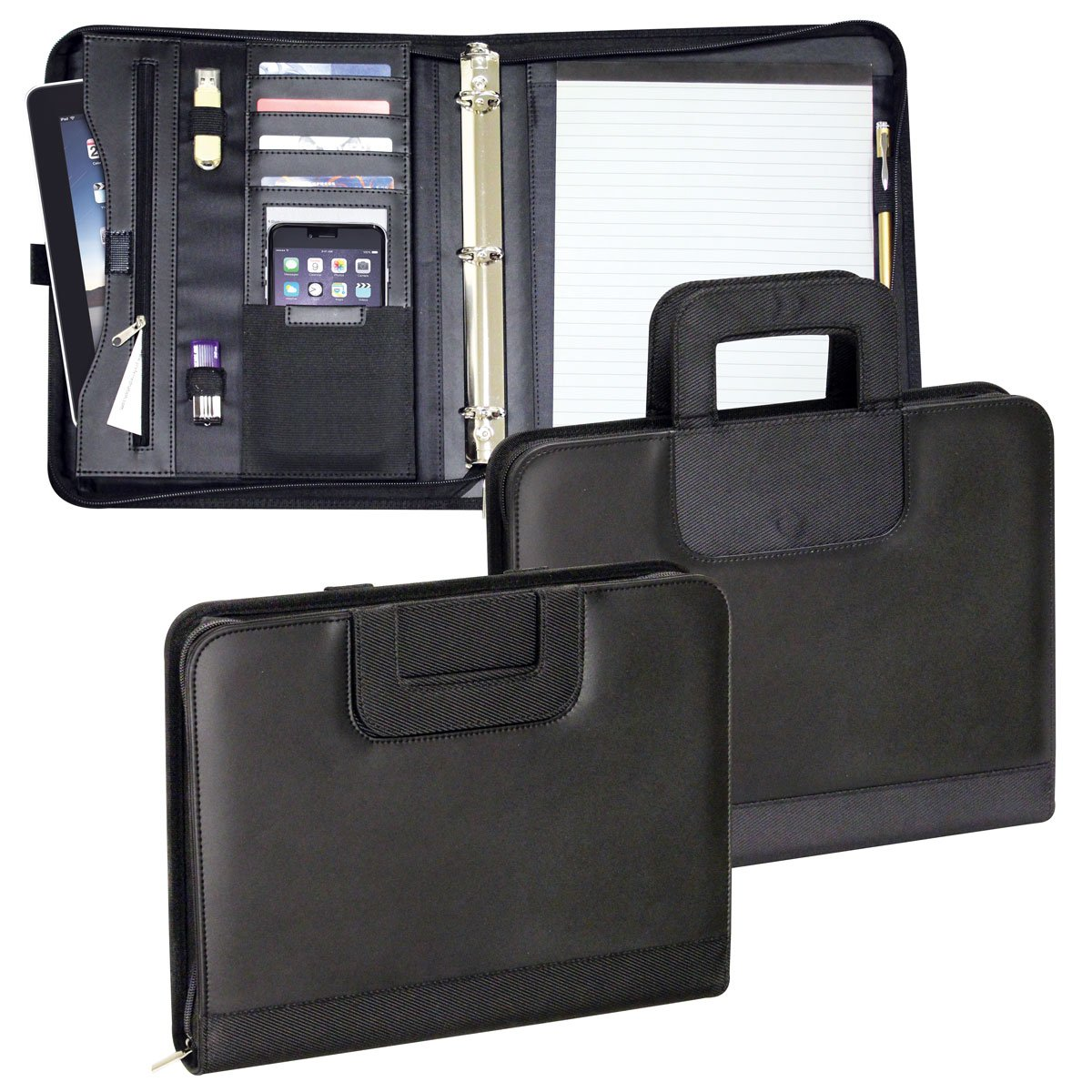 Preferred Nation 3-Ring Briefcase Business Pad Holder (P8132.Blk)