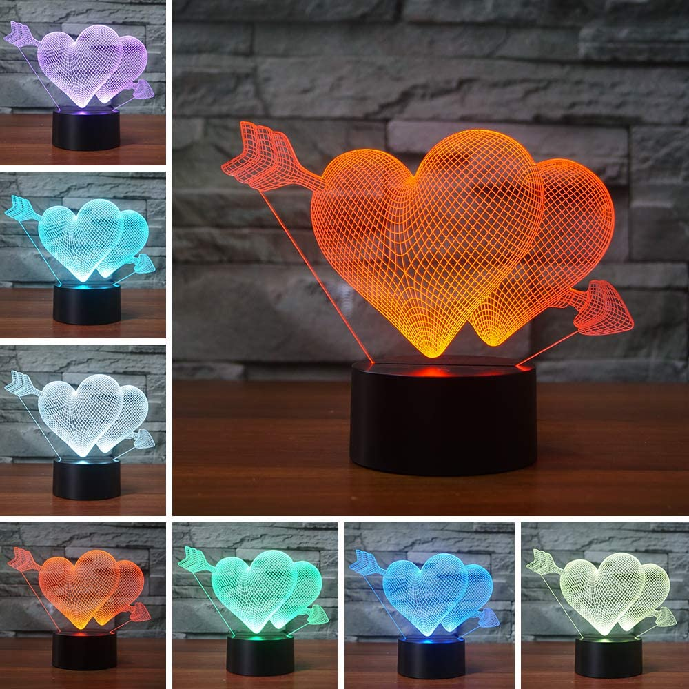 Romantic 3D Glow LED Night Light 7 Colors Optical Illusion Lamp Touch Sensor Perfect for Home Party Festival Decor Great Gift Idea (Arrow Through Heart)