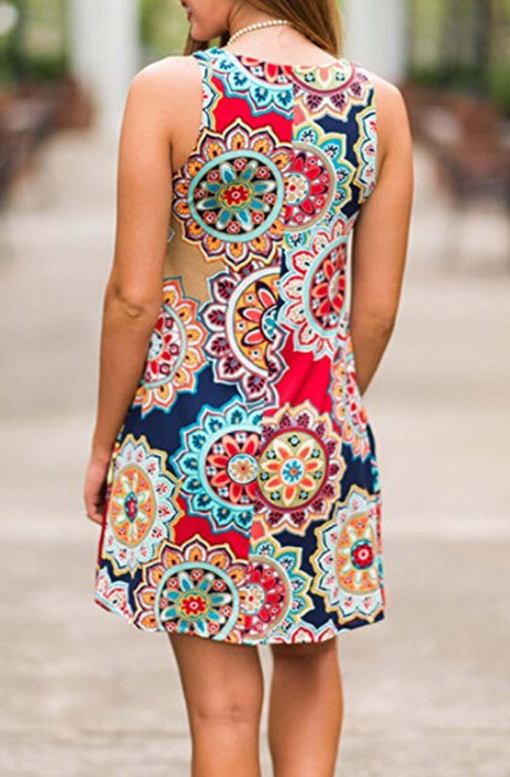 POGTMM Ladies Casual Ethnic Flower Print Beach Loose Tank Plus Size Short Dresses(Navy Blue,XXL) by POGTMM (Image #3)