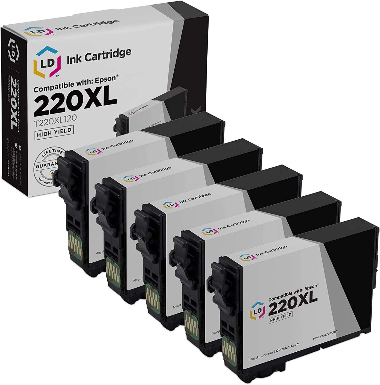 LD Remanufactured Ink Cartridge Replacement for Epson 220XL T220XL120 High Yield (Black, 5-Pack)
