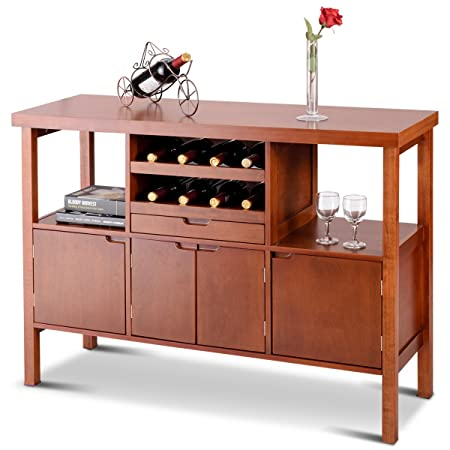 Giantex Storage Sideboard Cabinet Buffet Server Wood Kitchen Dining Room TableFurniture Kitchen Server Siideboard Serving Coffee Cupboard Table w Wine Rack, Cabinets and Shelves, Brown