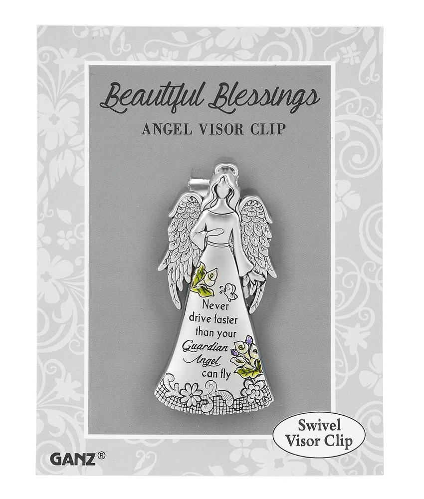 ER59268 Ganz Zinc Visor Clip Never Drive Faster than Your Guardian Angel Can Fly Inc