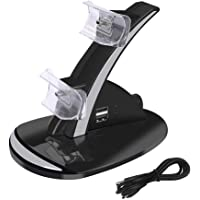 PS3 Controller Charger, Dual USB Charger Charging Docking Station for PS3 with LED Indicators, Black